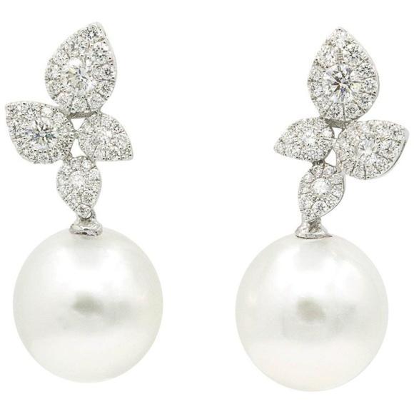 1940b6b2cea0c4 South Sea Pearl Diamond Cluster Earrings 1.05 CTS